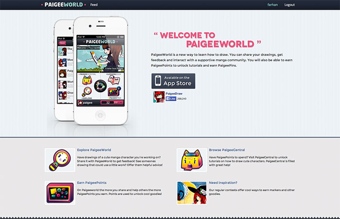 Paigeeworld - Social network for manga artists